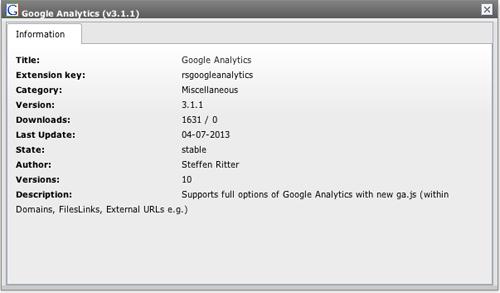 Google Analytics v3.1.1の詳細